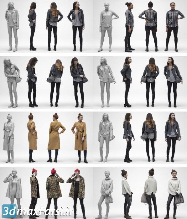 دانلود رایگان ابجکت آدم 3D Scan Store - Females Archviz People Scanned