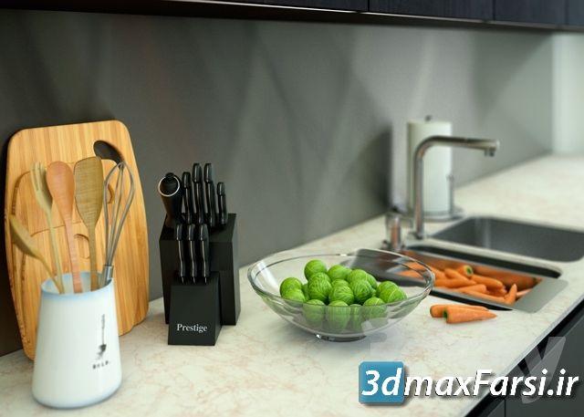 تردی اسکای - صحنه داخلی آشپزخانه Pro 3DSky – Varenna Poliform Twelve Kitchen