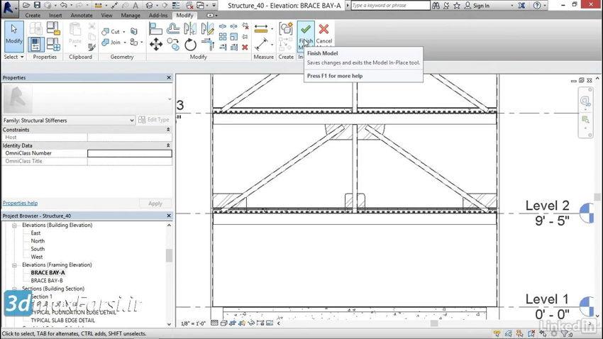 آموزش قاپ مهاربندی رویت استراکچر Revit Structure brace-frame gussets