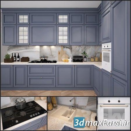 دانلود مدل سه بعدی کابینت سبک اسکاندیناوی Kitchen Scavolini Baltimora
