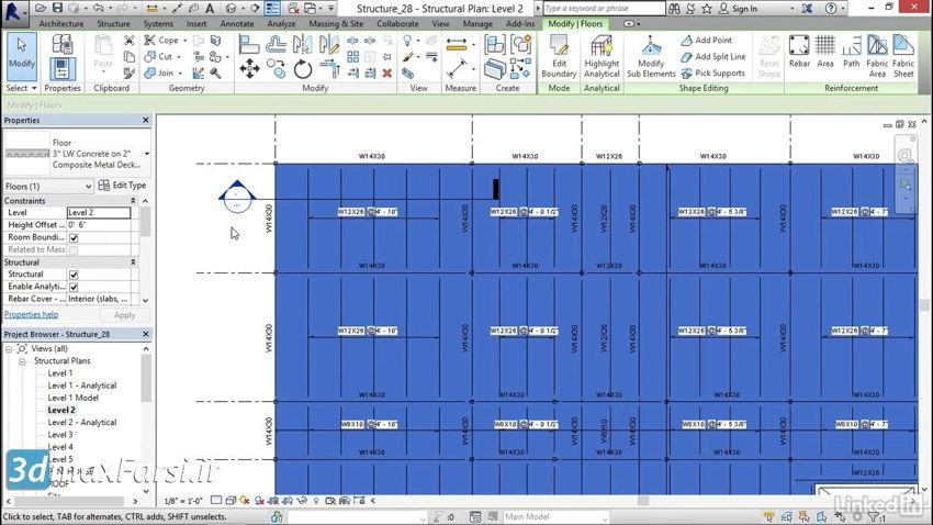 آموزش رویت استراکچر Revit Structureconcrete floor steel decking