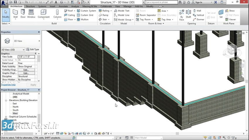آموزش افزودن فوتینگ پلکانی رویت استرکچر Revit Structure step footings