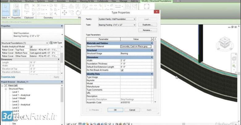 آموزش ترسیم و مدلسازی دیوار رویت استراکچر Revit Structure wall footings