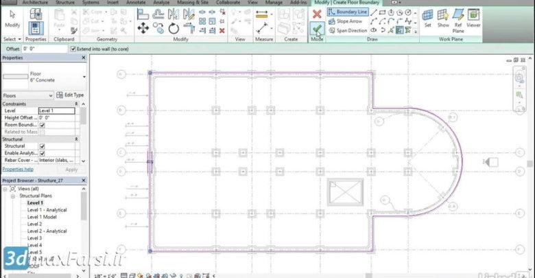 صفر تا صد آموزش رویت استراکچر Revit Structure Creating a slab on grade