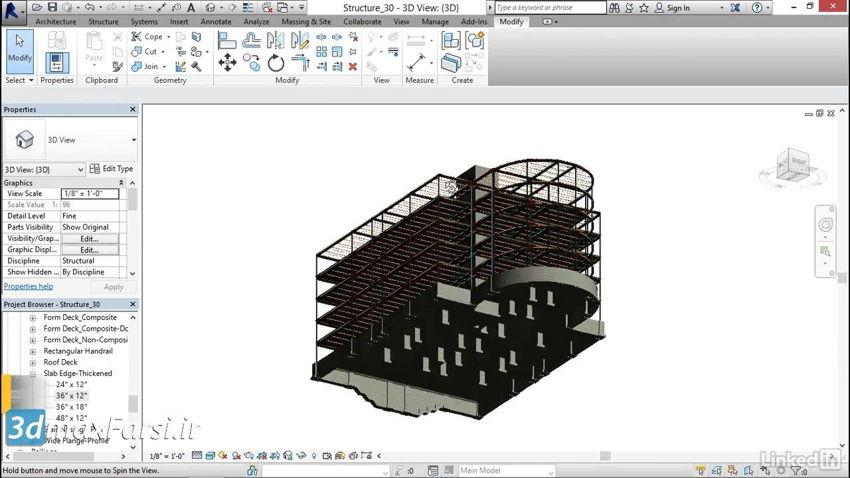 آموزش کاربردی رویت استراکچر Revit Structure Creating thickened slabs