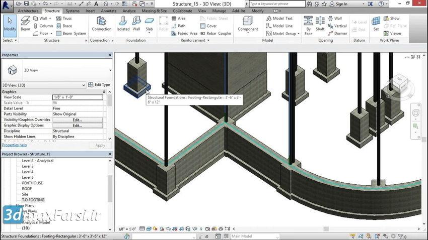 طراحی دال بتنی رویت استراکچر Revit Structure Foundation slabs
