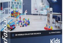 Photo of مدل سه بعدی اسباب بازی CGAxis Models Volume 96 Kids Furniture