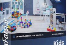 Photo of مدل سه بعدی اسباب بازی CGAxis Models Volume 96 Kids Furniture