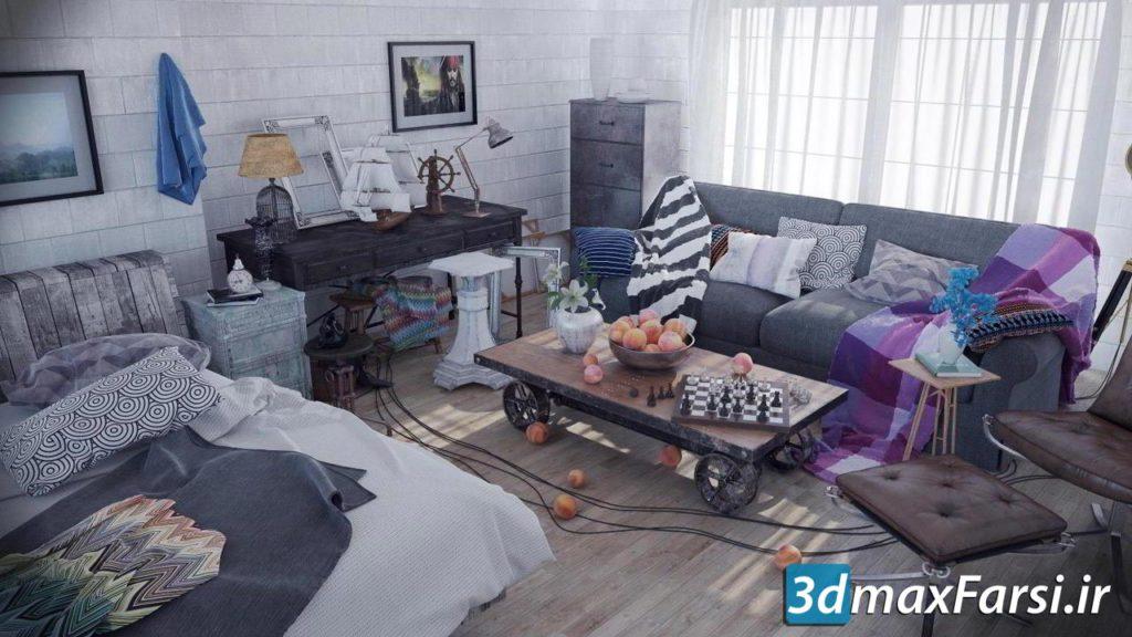 آموزش نورپردازی رندر داخلی سینمافوردی + ویری Realistic interior visualization in VrayForC4d , Industrial style room