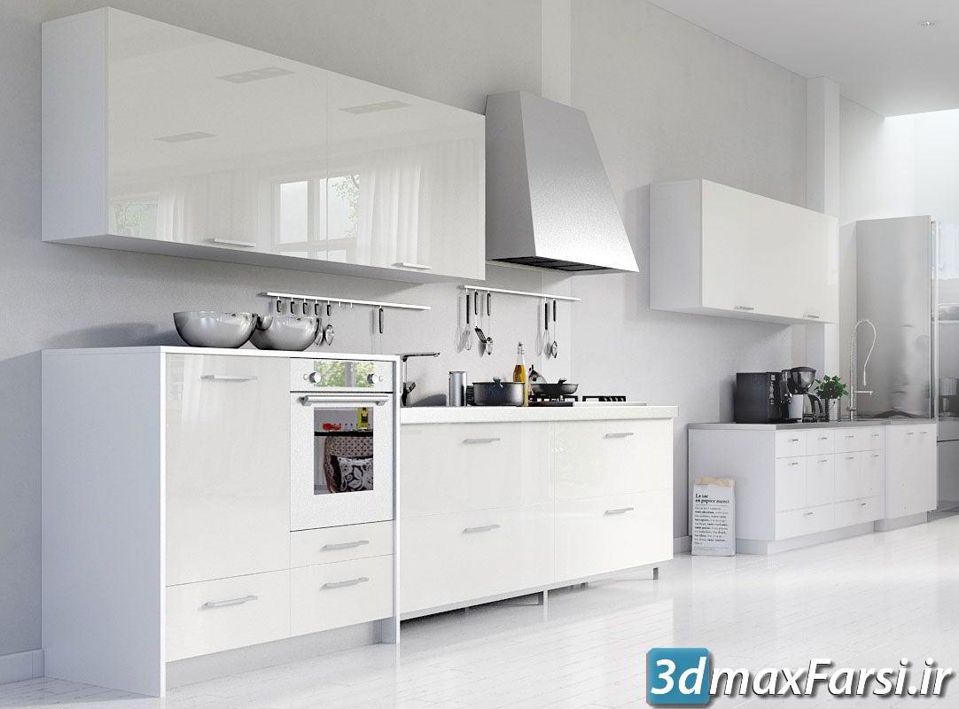 آرچ مدل Archmodels vol.137 : مدل سه بعدی کابینت و میز اپن آشپزخانه مدرن
