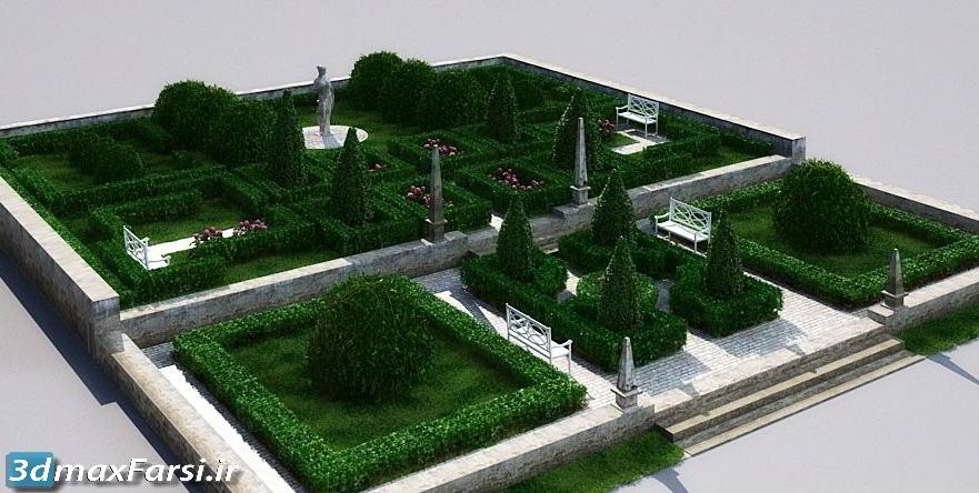 مدل حرفه ای سه بعدی از باغ های انگلیس، قطعات پارک و فضای سبز، شامل آبنما، حوض آب