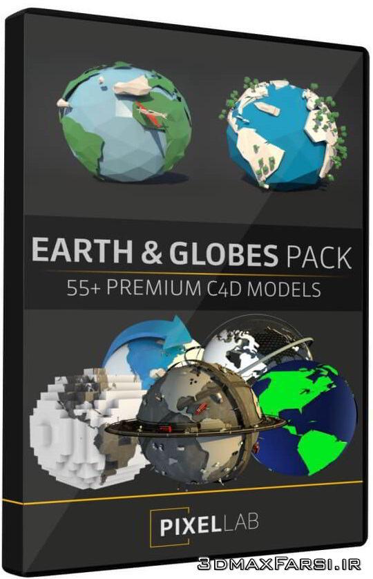 دانلود The Pixel Lab – Earth and Globe Pack: 50+ C4D Models