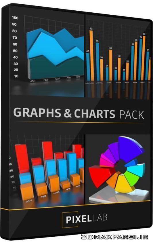 مدل سه بعدی نمودار و چارت آمار Infographics: Graphs and Charts Pack