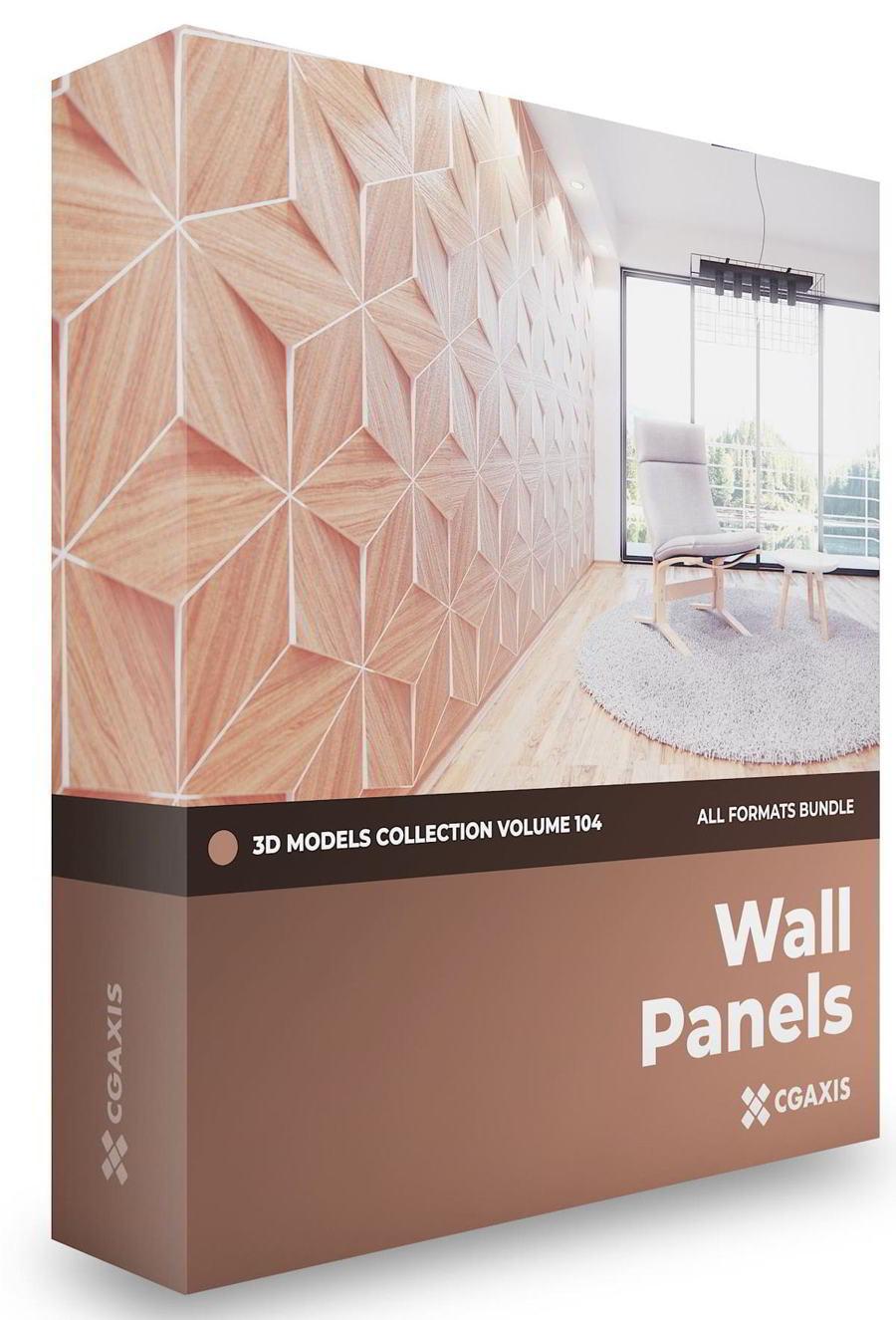 مدل سه بعدی پنل دیواری CGAxis – Wall Panels 3D Models Collection – Volume 104