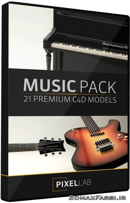 مدل سه بعدی آلات موسیقی و موزیک The Pixel Lab – Music Pack for Cinema 4D