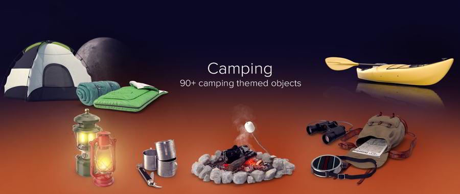 عکس گرافیکی کمپینگ PixelSquid – Camping Collection