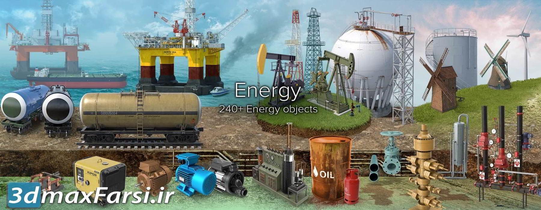 عکس گرافیکی انرژی گاز نفت برق PixelSquid Energy Collection