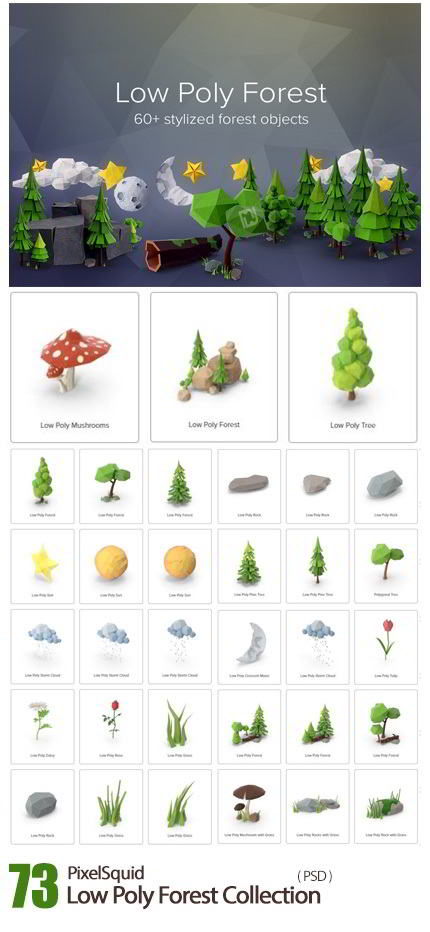 دانلود PixelSquid – Low Poly Forest Collection