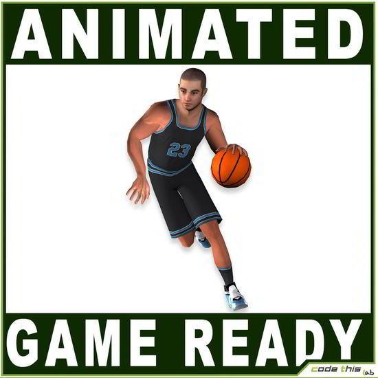 مدل سه بعدی بازیکن بسکتبال White Basketball Player Animated – Game Ready