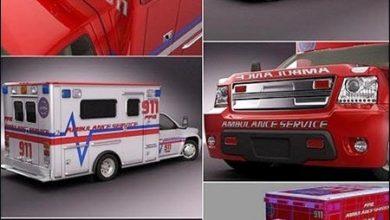 مدل سه بعدی آمبولانس تری دی مکس Turbosquid 3D Model Emergency Ambulance Truck 2in1