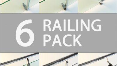 دانلود رایگان مدل سه بعدی نرده حفاظ بالکن تری دی مکس Turbosquid 6 Railing Pack