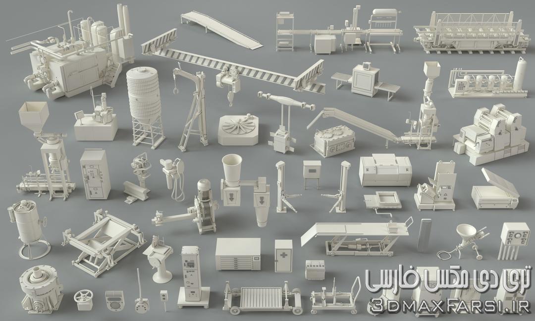 مدل سه بعدی کارخانه صنعتی Cgtrader – Factory Units-part-3 – 49 pieces 3D model