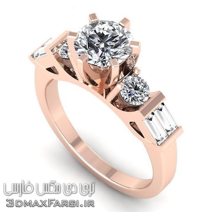 مدل سه بعدی انگشتر الماس تری دی مکس CGTrader – Jewelicious 1168 Ring 3D print model