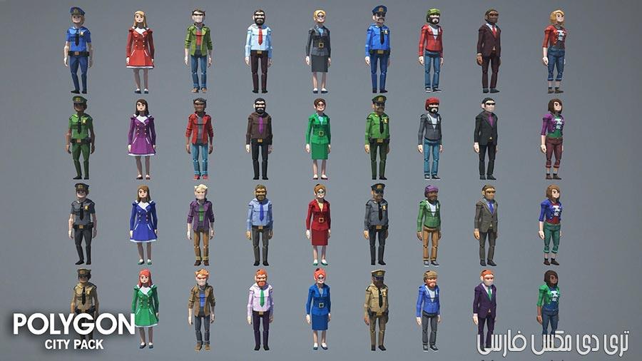 دانلود CGTrader – POLYGON – City Pack Low-poly & Complete Colored Lowpoly Standing People
